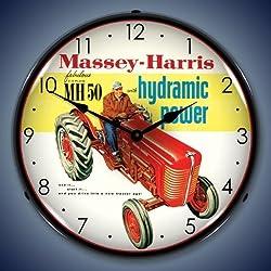 Massey Harris Tractor Lighted Wall Clock