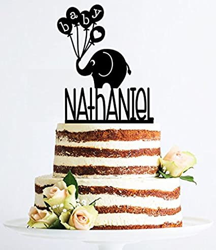Uniquepig Baby Elephant Cake Toppers Personalized NameHappy Birthday ToppersKids