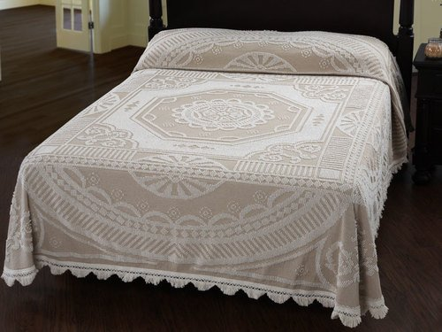 Maine Heritage Weavers John Adams Bedspread Queen White