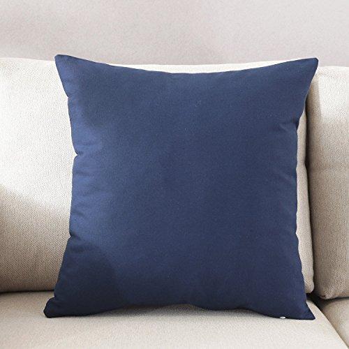 TAOSON Home Decorative 100% Cotton Canvas Square Throw Pillow Cover Cushion Case Solid Pillowcase with Hidden Zipper Closure Multiple Colors (18x18(45x45cm),Navy Blue)