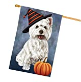 Happy Halloween West Highland Terriers Dog Wearing Witch Hat with Pumpkin House Flag