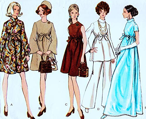 (Very Easy Very Vogue 7632 Misses Maternity Evening Dress, Tunic and Pants Vintage Sewing Pattern, Check Listings for Size)