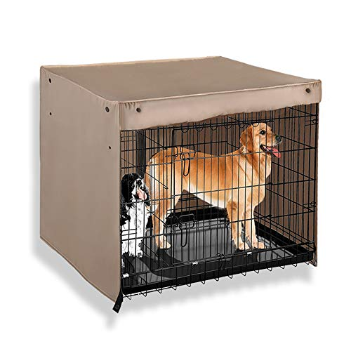 PONY DANCE Pets Cage Cover - Dogs Metal Crate Kennel Covers Durable Security Shade Light Block Breathable Bird/Puppy/Animal/Cat Square Universal House Cover for Better Sleep Prevent Distractions