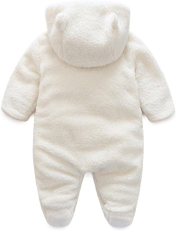 White LOTUCY Baby Winter Cartoon Sheep Warm Fleece Hoodie Footies Jumpsuit Rompe Outwear Size 0-3 Months