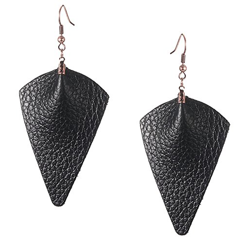 Zoomnovo Unique Cute Leather Earrings Dangle Lightweight Large Long Drop Earrings for Women | Not Faux Plastic Leather Earrings (1 pair ()