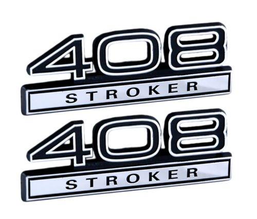 408 6.7 Liter Stroker Engine Emblems in Chrome & Black Trim - 4