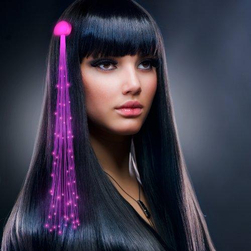 Pink Fiber Optic LED Hair Clip Extensions (Set of 12)