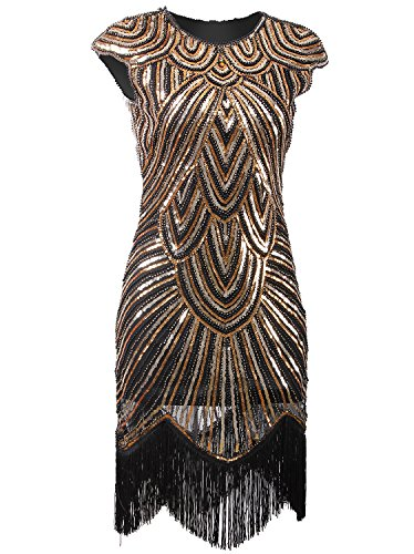 Vijiv Art Deco Great Gatsby Inspired Tassel Beaded 1920s Flapper Dress, Glam Gold, XX-Large