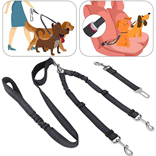 SlowTon 2 in 1 Double Dog Leash + Car Seat Belt, 360° Swivel Dual Dog Lead and Vehicle Safety Seat Belt with Elastic Bungee and Reflective Stripe for Two Pets ()