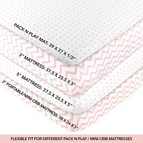 Ely's & Co Pack n Play, Portable mini Crib Sheet Set 100% Jersey Cotton Pink Chevron and Polka Dots for Baby Girl, 2 Pack by Ely's & Co (Image #2)