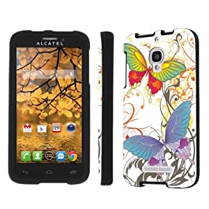 NakedShield Alcatel One Touch Fierce 7042W White Butterfly Total Armor Art Phone Case