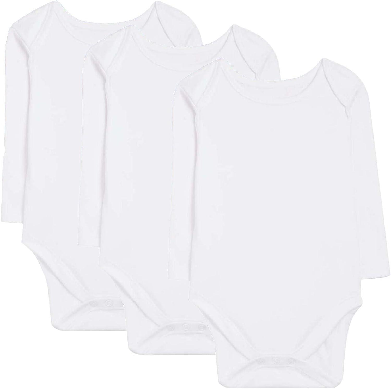 Bodys Bebe Manga Larga - Pack de 3 Bodies Blancos para Niño o Niña - Body Desde Recién Nacido