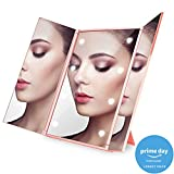 Makeup Mirrors with Lights Travel Tri-Fold Countertop Cosmetic Mirror Desktop Compact Mirror 8 LED Lighted High-Definition Rose Gold Vanity Portable Handhold Size NO Magnification Mirrors PRIME