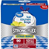Great Value Strong Flex Tall Kitchen Drawstring Trash Bags, Citrus Burst, 13 Gallon, 90 Count