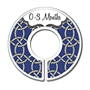 CarrieDee Handcrafted Nursery Closet Size Dividers, Baby Clothes Organizers, Navy Blue Nautical Rope Decor, Navy Rope - Set of 11