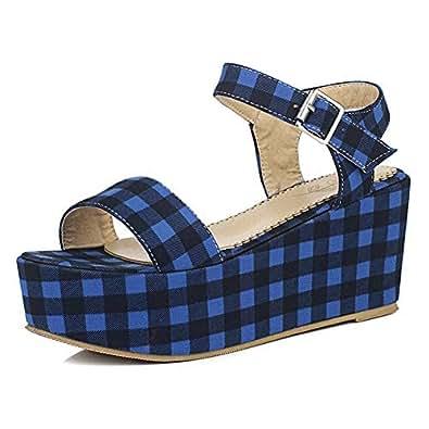 BalaMasa Womens ASL06259 Comfort Low-Top Travel Blue Pu Platform Heels - 2.5 UK (Lable:34)