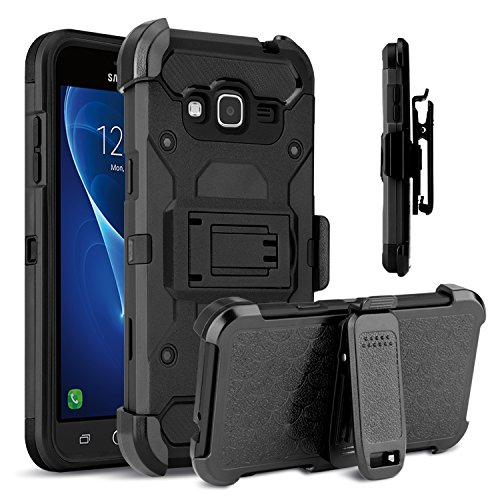 Galaxy Sky Case, Galaxy J3 Case, Venoro Heavy Duty Shockproof Rugged Three-Layer Full Body Protection Case Cover with Belt Swivel Clip and Kickstand for Samsung Galaxy J3 / Express Prime (Black)