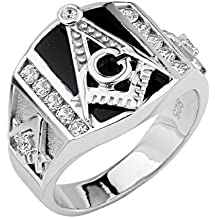 .925 Sterling Silver Rhodium Plated Embossed Masonic Men's Ring
