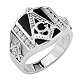 .925 Sterling Silver Rhodium Plated Embossed Masonic Men's Ring - Size 12