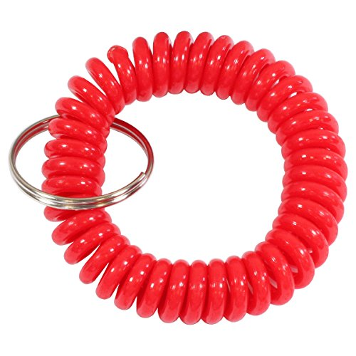 HTS 311E0 Red Wrist Coil with Split Ring (Expandable Key Coil With Clip)