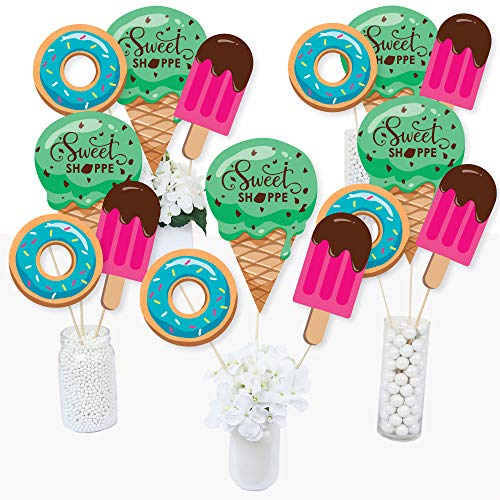 Sweet Shoppe - Candy and Bakery Birthday Party or Baby Shower Centerpiece Sticks - Table Toppers - Set of -