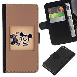 EJOY---La carpeta del tirón la caja de cuero de alta calidad de la PU Caso protector / Apple Iphone 5C / --Orejas cartel de la historieta del beso de Brown