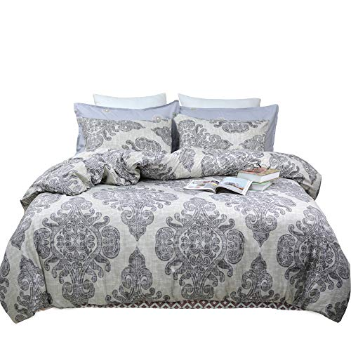 TEALP Queen Duvet Cover Bohemian Paisley Printed Bedding with Zipper Ties 1 Duvet Cover 2 Pillowcases Hypoallergenic Soft Brushed Microfiber Down Comforter Quilt Bedding Covers 90x90 inch, Boho Grey Black And White Paisley Duvet Cover