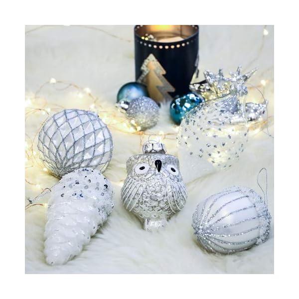 Valery Madelyn Palle di Natale Vetro Addobbi Natalizi Set, 10 Pezzi 10-15cm Silver And White Palline di Natale Decoration for Addobbi Natalizi per Albero 6 spesavip