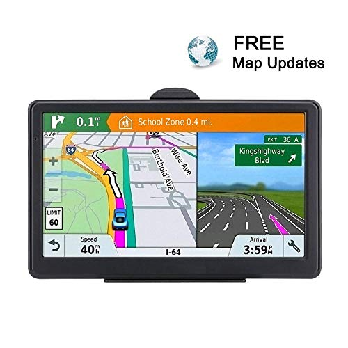 GPS Navigation for car, 7 inch Touch Screen Vehicle GPS, Lifetime Map Update, Spoken Turn-to-Turn Navigation System for Cars,Attach Sunshade,Free Lifetime Maps Update,Pre-Install Newest North America