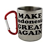 Stainless steel mug with carabiner handle with MAKE Indonesia GREAT AGAIN