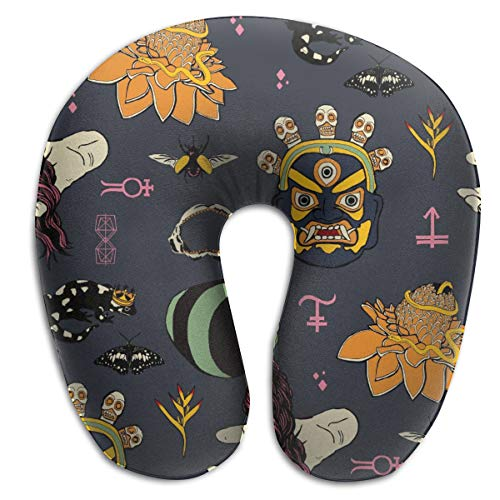 BRECKSUCH Carnival Halloween Pattern Print U Type Pillow Memory Foam Neck Pillow for Travel and Relief Neck Pain Fashion Super Soft Cervical Pillows with Resilient Material Relex Pollow