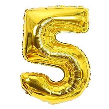 ShopVip Globos de cumpleaños - número 5 - Decoración Cumpleaños gigante de bodas 80 CM - Número de globo gigante dorado - Número de globo 5 años - ...