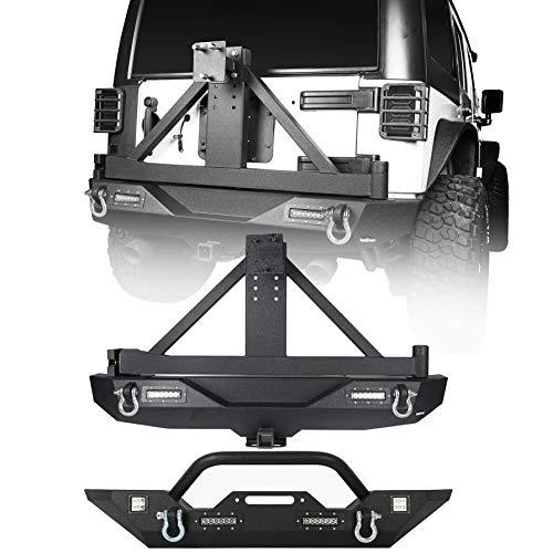(Hooke Road Jeep Wrangler Front & Rear Bumper w/Spare Tire Carrier Combo - Explorer (Jeep Wrangler JK 2007-2018))