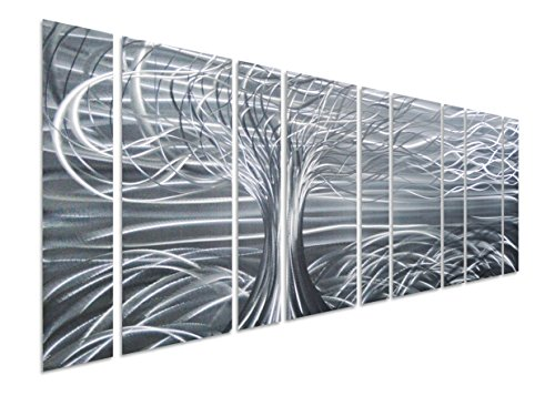 Pure Art Willow Tree of Life Metal Wall Art, Abstract Silver Sculpture Metal Wall Decor, 9-Panels, 86