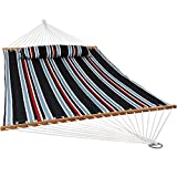 Sunnydaze 2 Person Double Hammock with Spreader Bar, Quilted Fabric Bed - for Outdoor Patio, Porch, and Yard (Nautical Stripe)