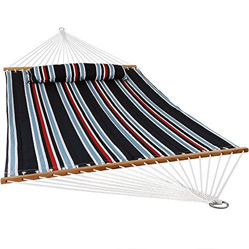 Sunnydaze 2 Person Double Hammock with Spreader Bar, Quilted Fabric Bed - for Outdoor Patio, Porch, and Yard (Nautical Stripe) (Nautical Outdoor Fabric)
