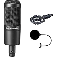 Audio-Technica Cardioid Condenser Microphone (AT2035) with Pop Shield Universal Pop Filter Microphone Wind Screen with Mic Stand Clip