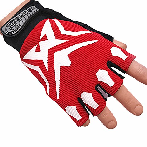 Nice Cool Adult/Youth Specialized Half-finger Mountainbiking BMX Elite Motorcycle Biker Bicycle Gym Workout Mtb Road Cycling Racing Trail Running Jogging Mechanics Glove (Red)