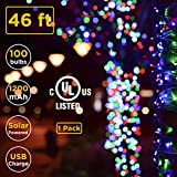 ISEEBELL LIVE WISELY 100-Count Mini Multi Color Christmas Home Landscape Décor Outdoor Indoor String Light Set Solar & USB Charge, Dusk to Dawn Auto On/Off(46-ft), 1Pack