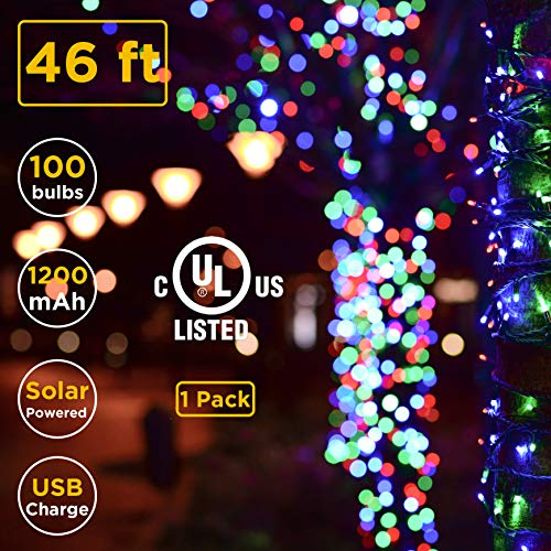 ISEEBELL LIVE WISELY 100-Count Mini Multi Color Christmas Home Landscape Décor Outdoor Indoor String Light Set Solar & USB Charge, Dusk to Dawn Auto On/Off(46-ft), 1Pack by ISEEBELL LIVE WISELY