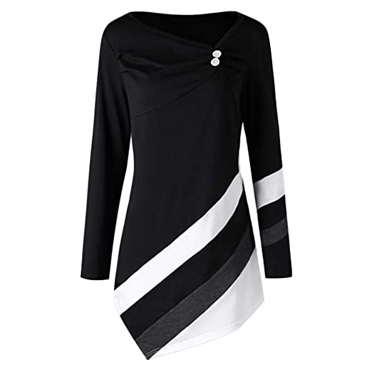 ef7419fa992 Women's Autumn Casual T-shirts Pullover Long Sleeve Striped Asymmetrical Tunic  Tops with Button (