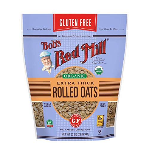(Bob's Red Mill Resealable Gluten Free Organic Extra Thick Rolled Oats, 32 Oz (4 Pack))