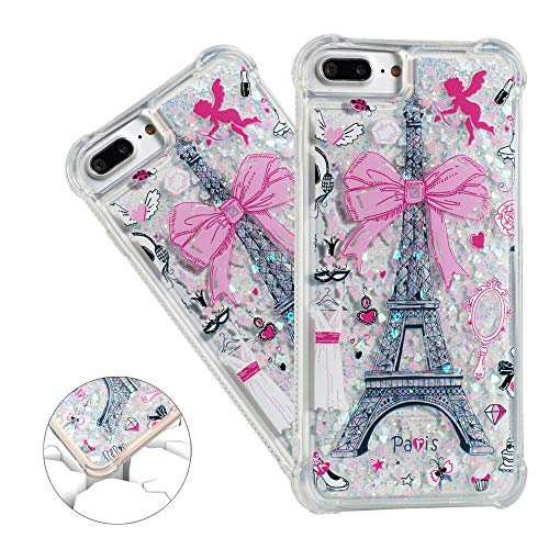 (HMTECHUS iPhone 8 Plus case Unique Creative 3D Pattern Quicksand Diamonds Floating Shiny Glitter Flowing Liquid Shockproof Protect Silicone Cover iPhone 7 Plus / 8 Plus Bling Eiffel Tower YB)