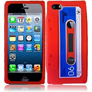 HR Wireless Cassette Silicone Carrying Case for iPhone 5/5S - Retail Packaging - Red