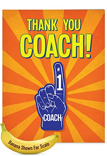 Thanks Coach Football (J5786TYG-US Jumbo Humorous Thank You Card: Thank You Coach From All, with Envelope (Large Size: 8.5