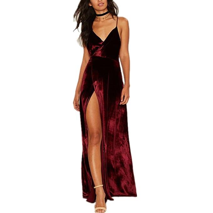 Vestido de mujer, Lananas 2018 Mujeres Cuello en V Escotado por detrás Split frontal Boda por la noche Terciopelo sin mangas Vino rojo Vestido Largo Maxi: ...