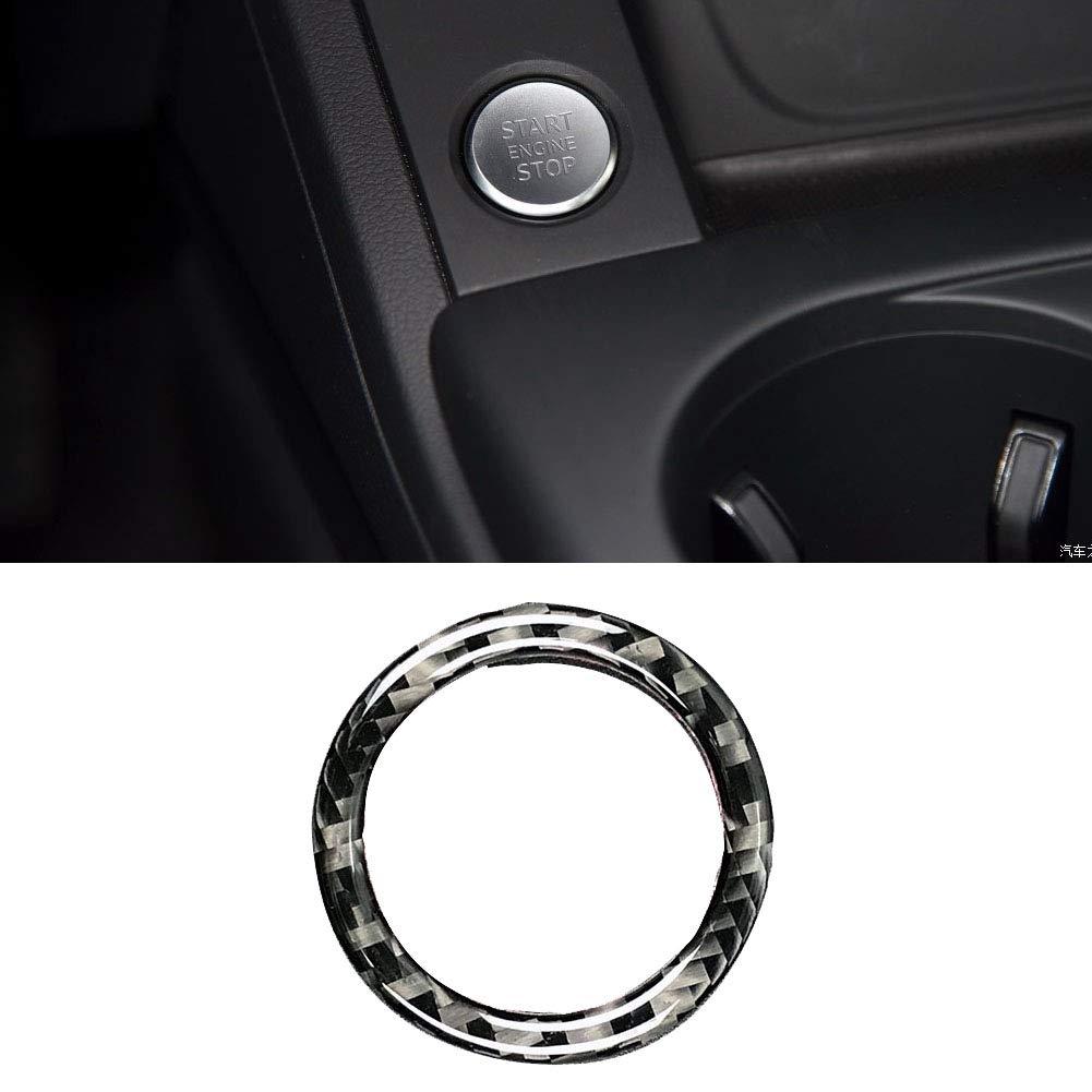 Start Engine Stop Ring Copertura a strisce Circle Trim Carbon Fiber C Accessorio interno veicolo auto per A4 A5 2017-2018 A6 2012-2017 Q7 A7 A8 2016-2017 1 pz//set