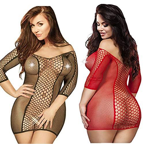 - LOVELYBOBO 2 Pack Plus Size Women's Seamless Fishnet Chemise Sexy Lingerie Mesh Hole Minidress Babydoll (Black+red)