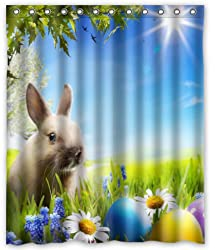 Standard-Store Custom Fashionable Design Happy Easter 2 Waterproof Fabric Polyester Shower Curtain