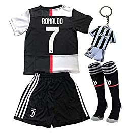 CINDOU Football Maillot Manche Longue pour garçons Cristiano Ronaldo Numéro 7 T-Shirt Juventus 2020 - pour Enfants T-Shirt et Pantalon et Chaussette